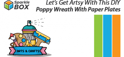 DIY poppy wreath with paper plates for kids