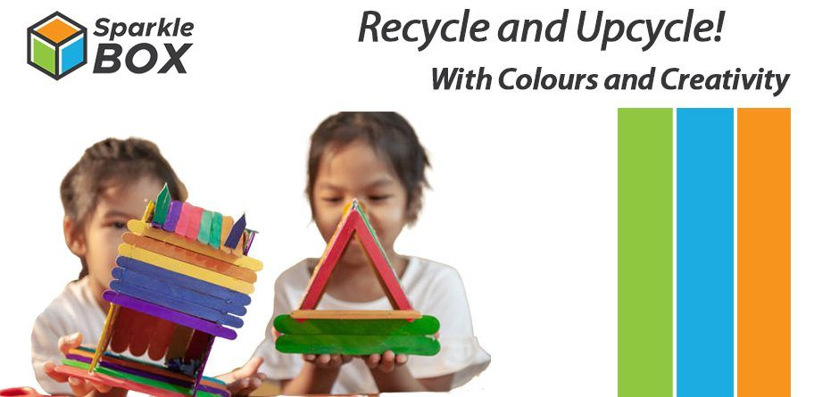 recycle craft for kids with plastic, jute and cardboard
