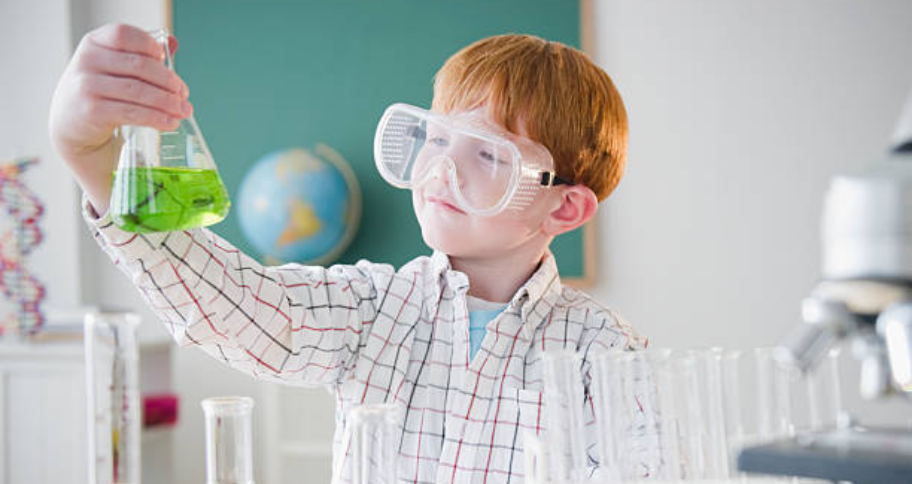 a kid doing Science Experiments